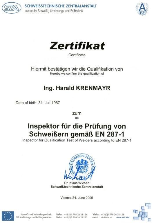 Zertifikat Inspektor für die Prüfung von Schweißern