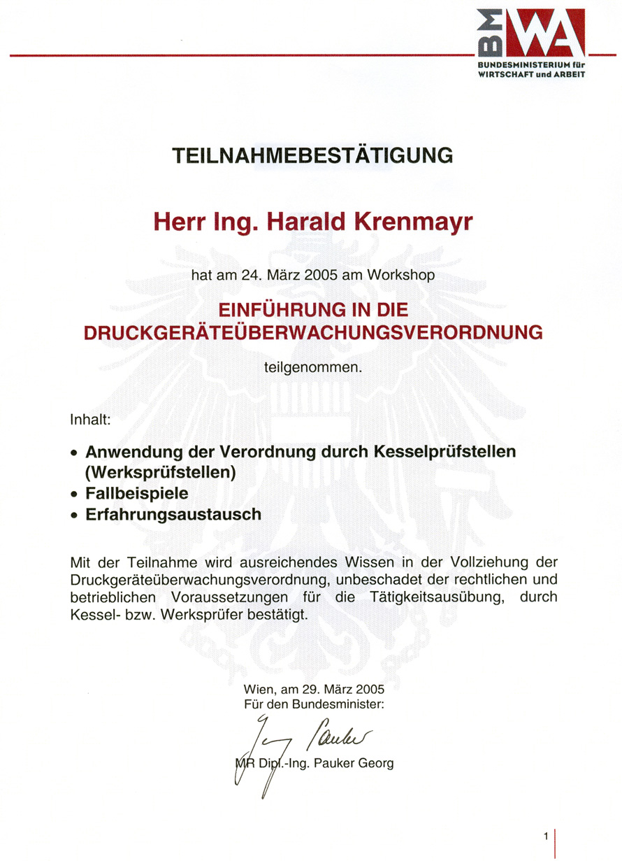 Teilnahmebestätigung für die Einführung in die Druckgeräteüberwachungsverordnung