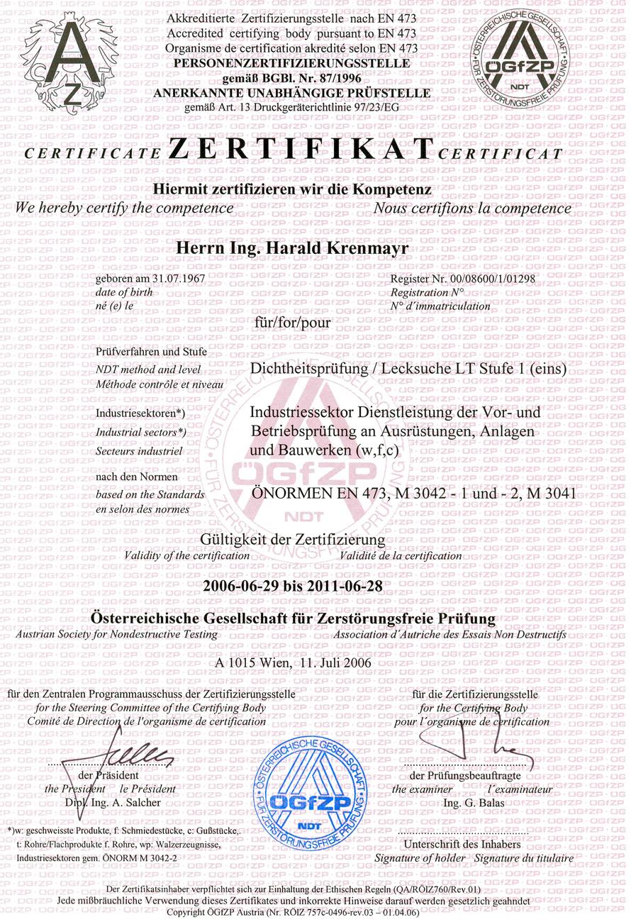 Zertifikat Dichtheitsprüfung/Lecksuche