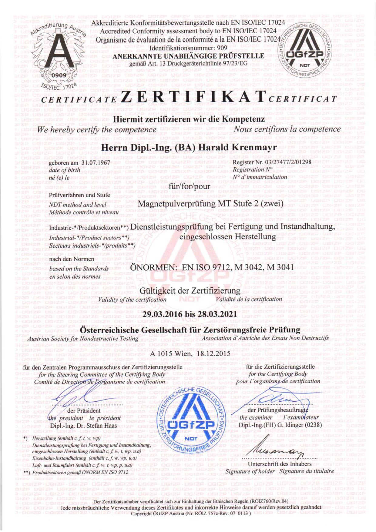 Zertifikat Magnetpulverprüfung
