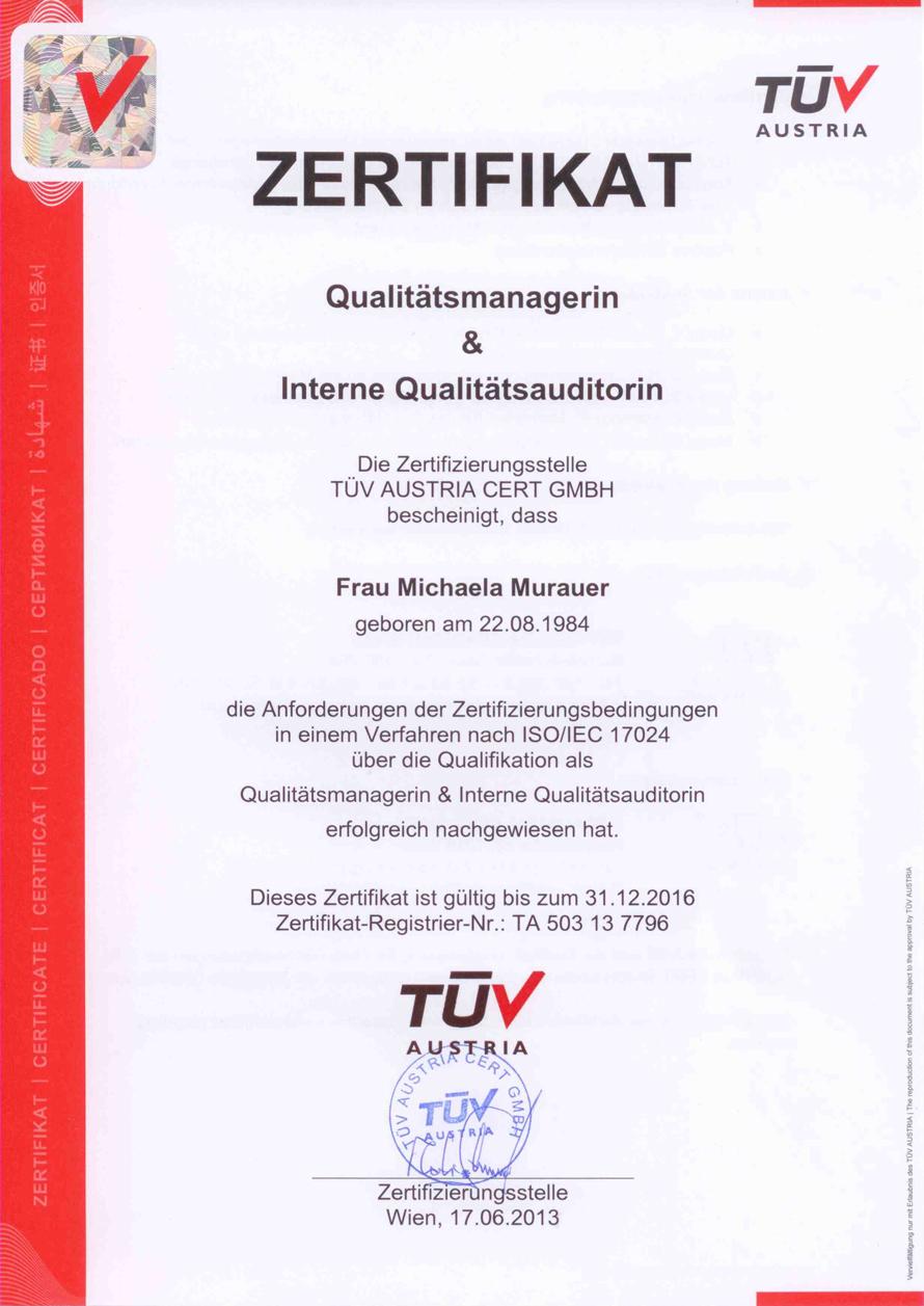 Qualitätsmanagerin & Interne Qualitätsauditorin