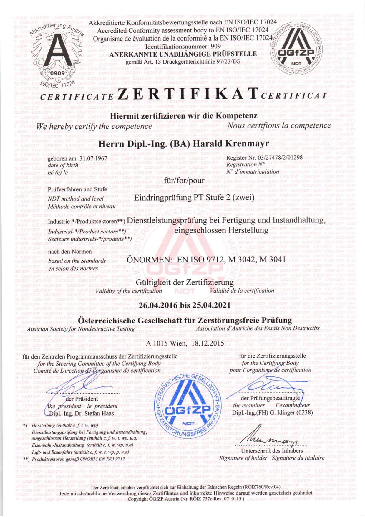 Zertifikat Farbeindringprüfung