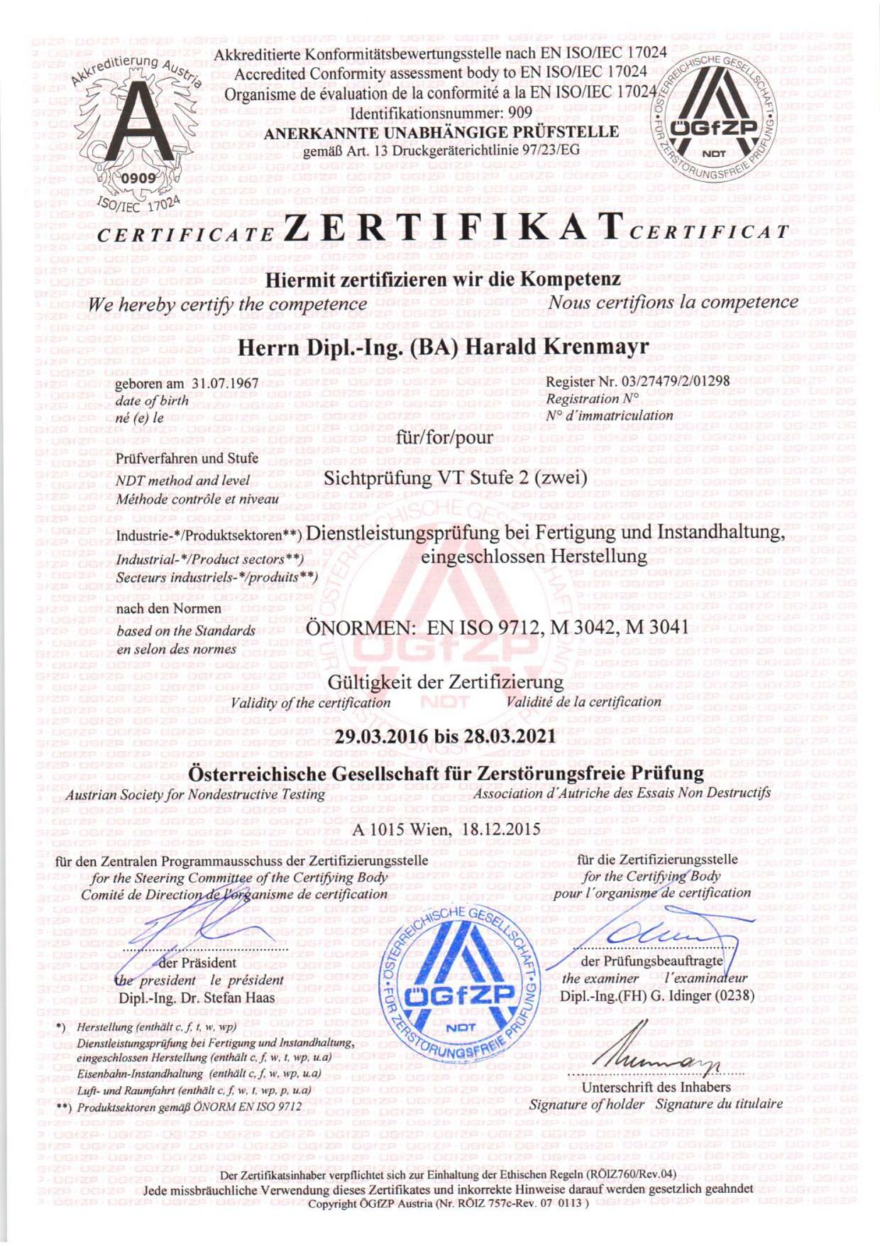 Zertifikat Sichtprüfung